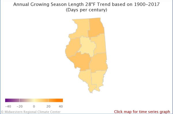 Annual growing season 28°F Illinois