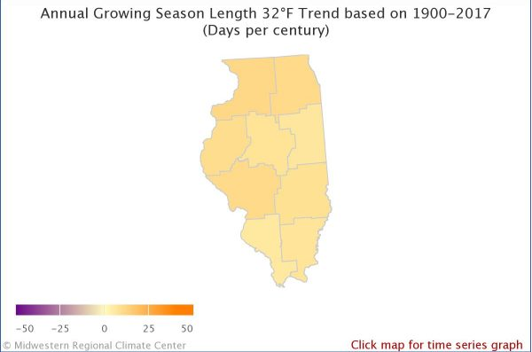 Annual growing season 32°F Illinois